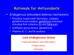 rationale for antioxidants