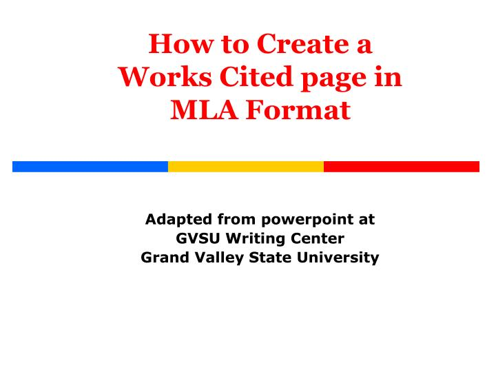 ppt how to create a works cited page in mla format powerpoint