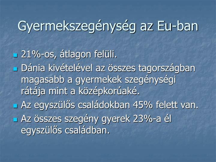 Gyermekszegénység az Eu-ban