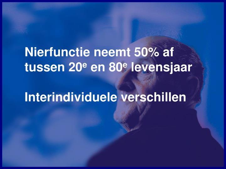 Nierfunctie neemt 50% af