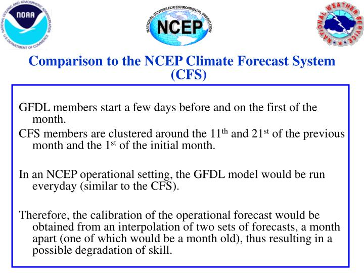Comparison to the NCEP Climate Forecast System (CFS)