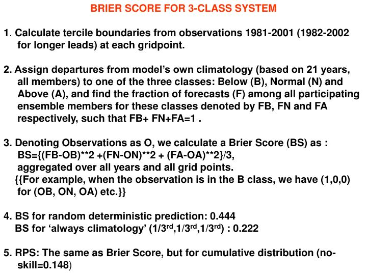 BRIER SCORE FOR 3-CLASS SYSTEM