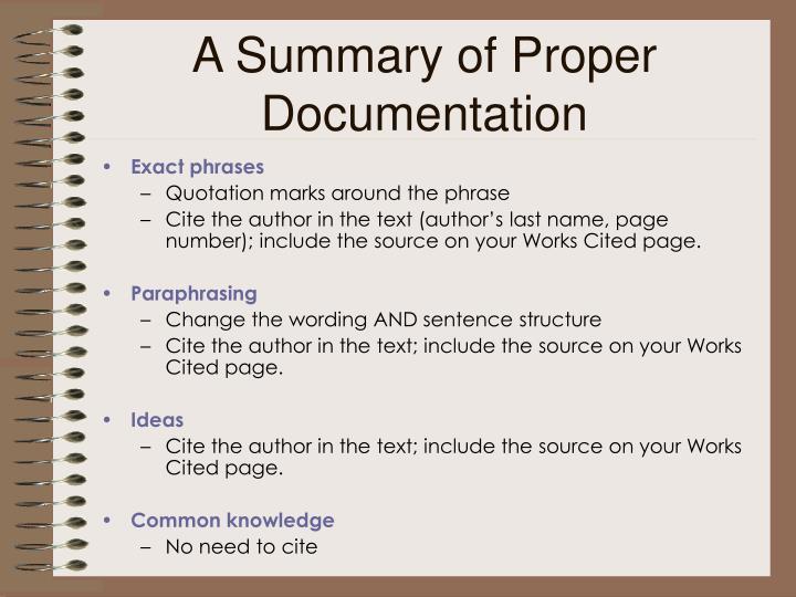 A Summary of Proper Documentation