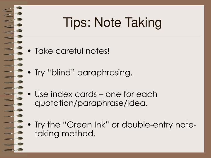 Tips: Note Taking