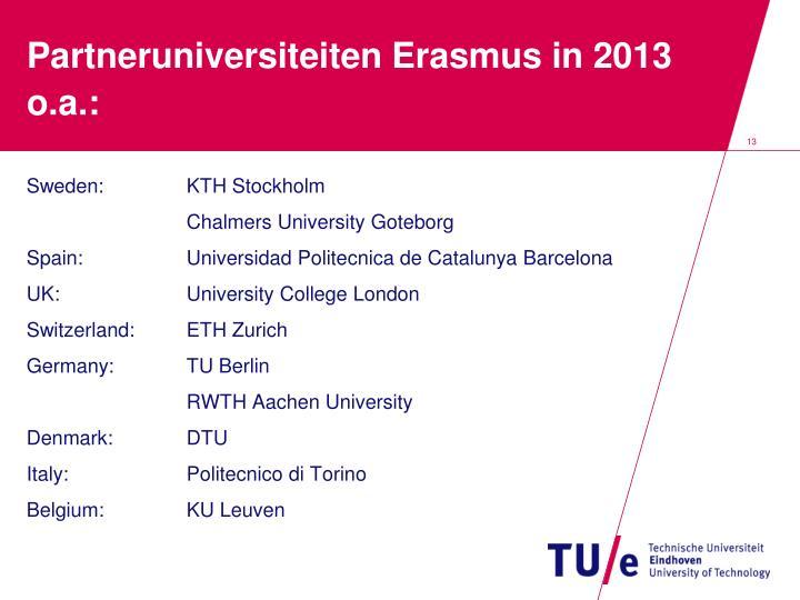 Partneruniversiteiten Erasmus