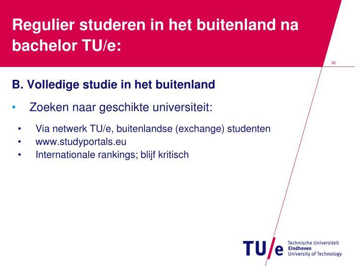 Regulier studeren in het buitenland na bachelor TU/e: