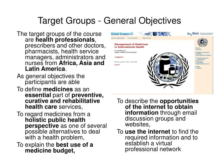 Target Groups - General Objectives