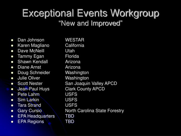 Exceptional Events Workgroup