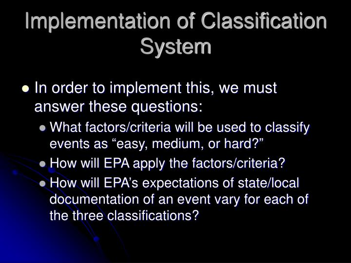 Implementation of Classification System
