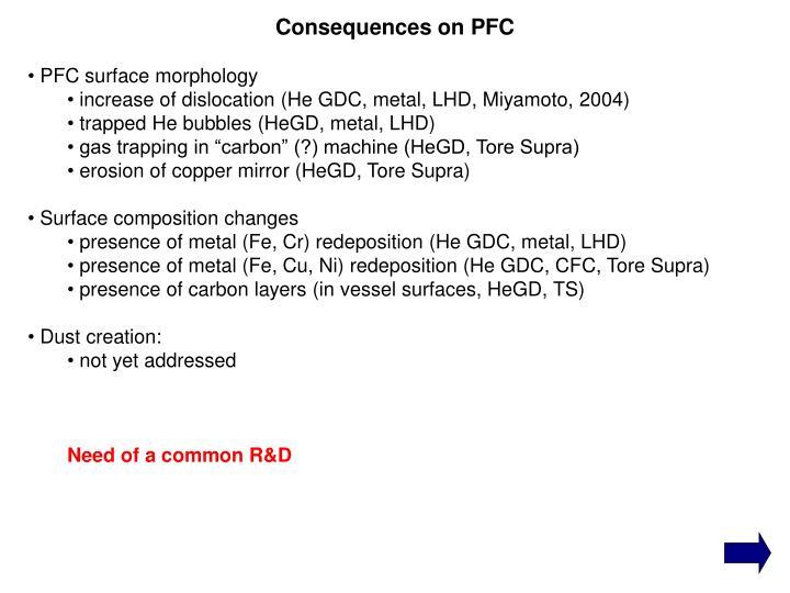 PFC surface morphology