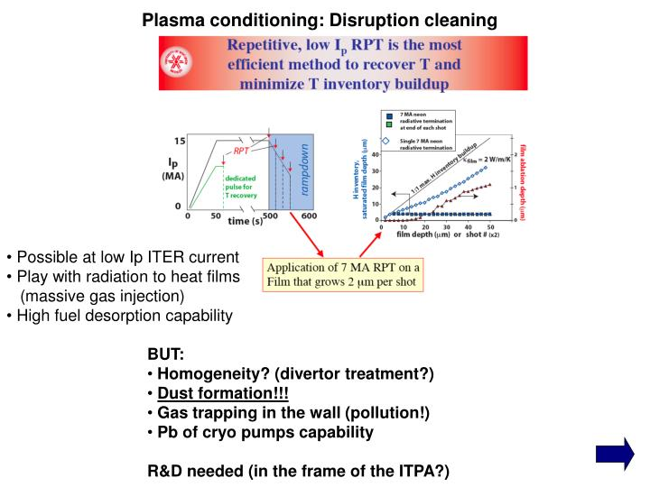 Plasma conditioning: Disruption cleaning