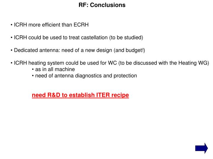 RF: Conclusions