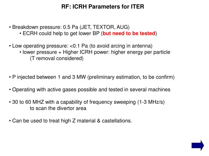 RF: ICRH Parameters for ITER