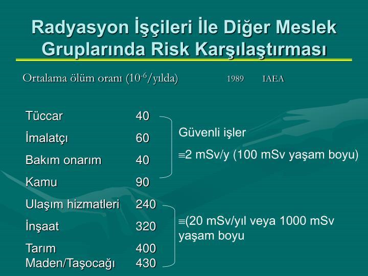 Radyasyon İşçileri İle Diğer Meslek Gruplarında Risk Karşılaştırması