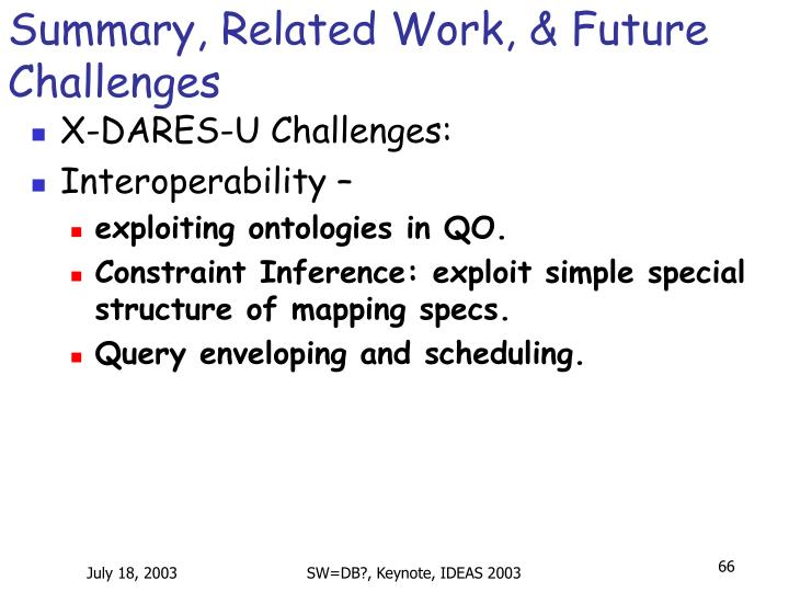 Summary, Related Work, & Future Challenges
