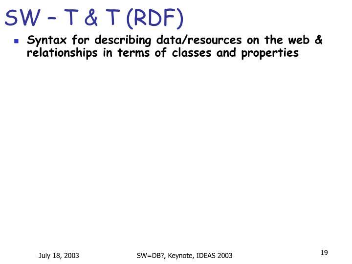 SW – T & T (RDF)
