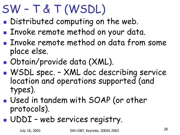 SW – T & T (WSDL)