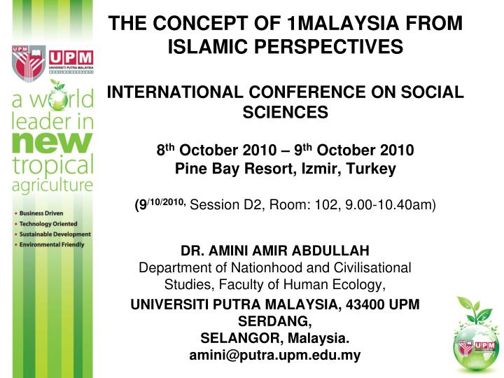 The Concept of 1Malaysia From Islamic Perspectives