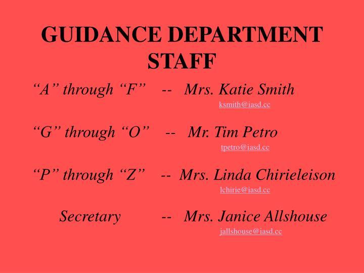 Guidance department staff