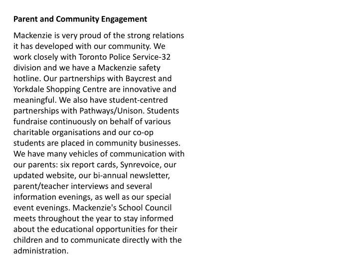 Parent and Community Engagement