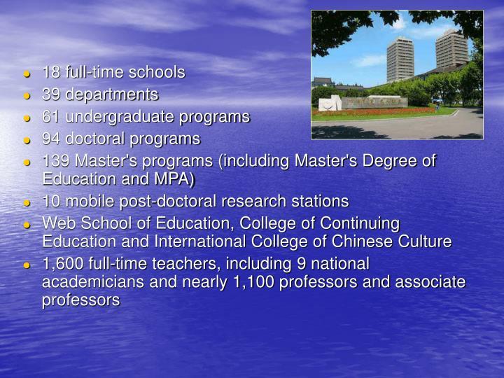 18 full-time schools