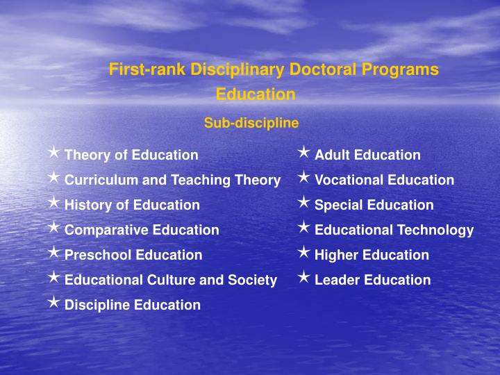 First-rank Disciplinary Doctoral Programs