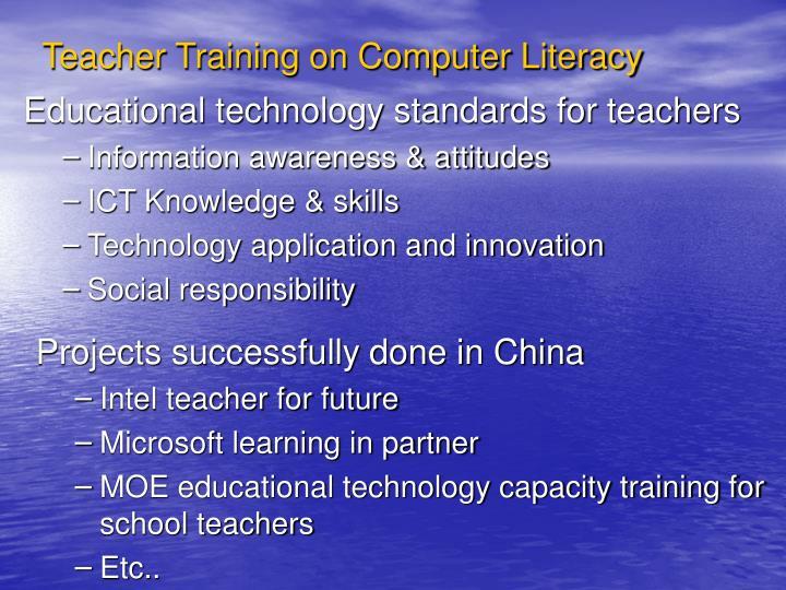 Teacher Training on Computer Literacy