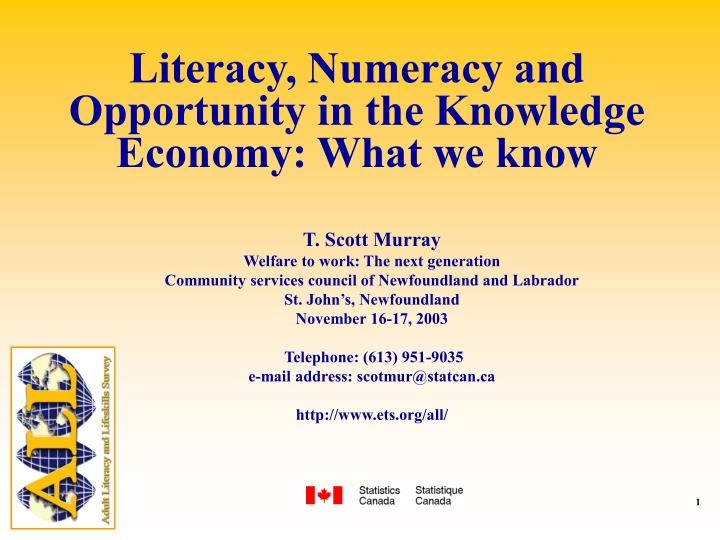 Literacy numeracy and opportunity in the knowledge economy what we know