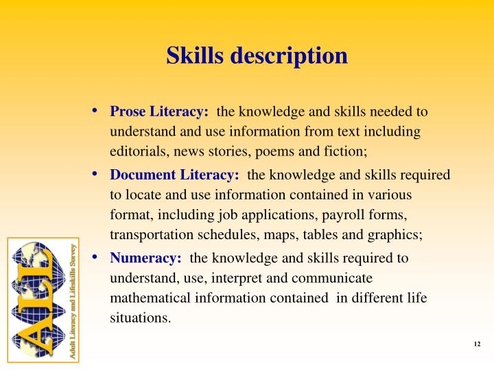 Skills description