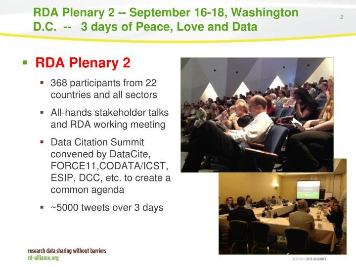 Rda plenary 2 september 16 18 washington d c 3 days of peace love and data