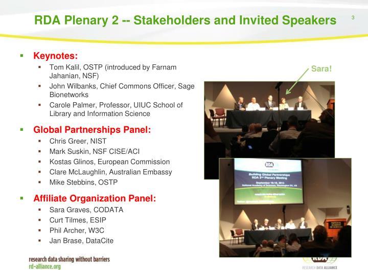Rda plenary 2 stakeholders and invited speakers