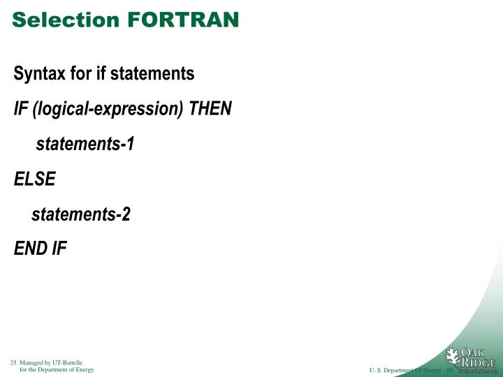 Selection FORTRAN