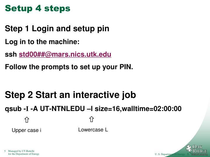 Setup 4 steps
