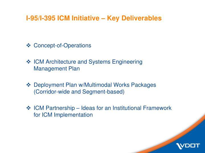 I-95/I-395 ICM Initiative – Key Deliverables