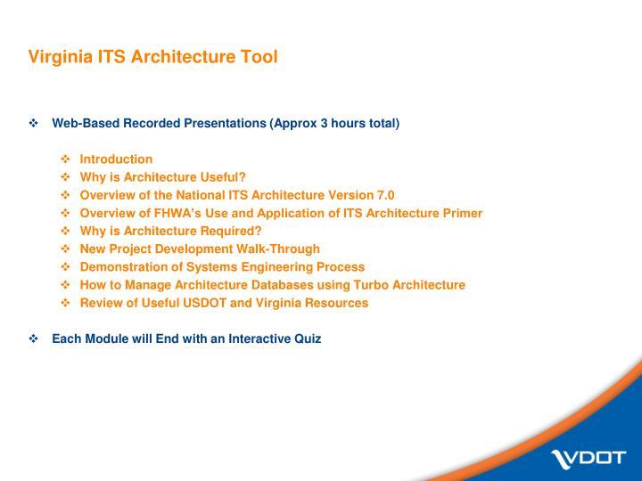 Virginia ITS Architecture Tool