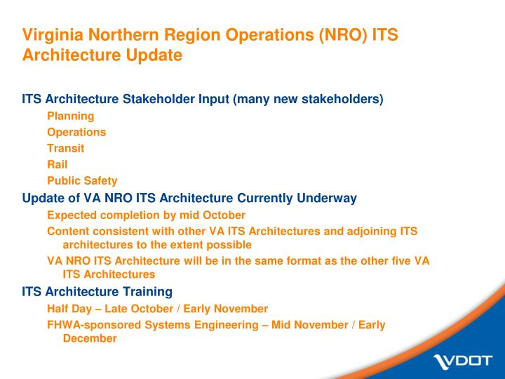 Virginia northern region operations nro its architecture update