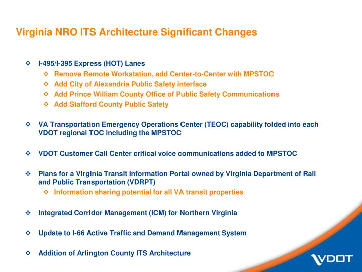Virginia nro its architecture significant changes