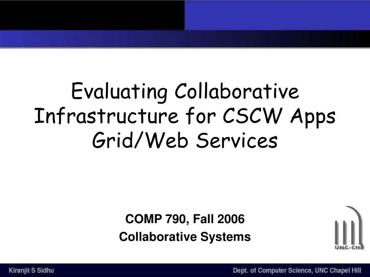 evaluating collaborative infrastructure for cscw apps grid web services n.