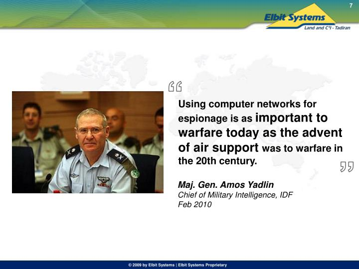 Using computer networks for espionage is as