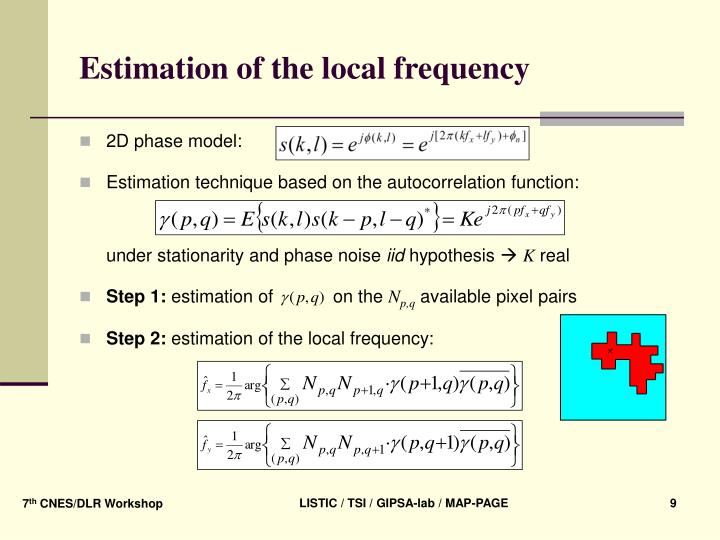 Estimation of the local frequency