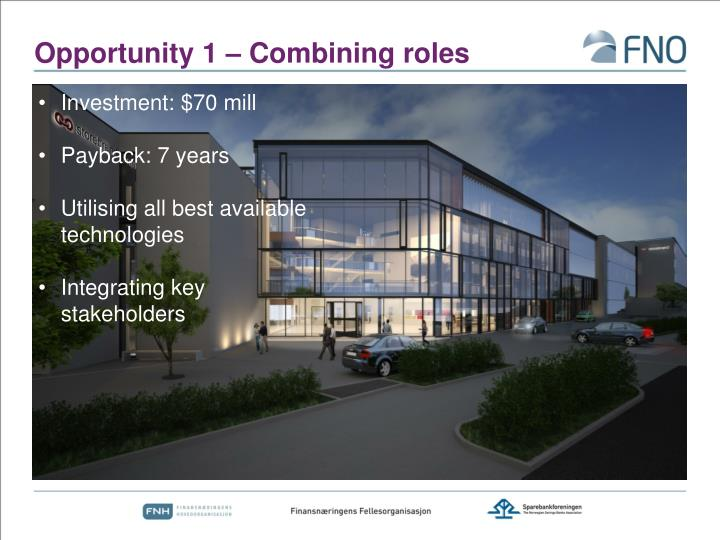 Opportunity 1 – Combining roles