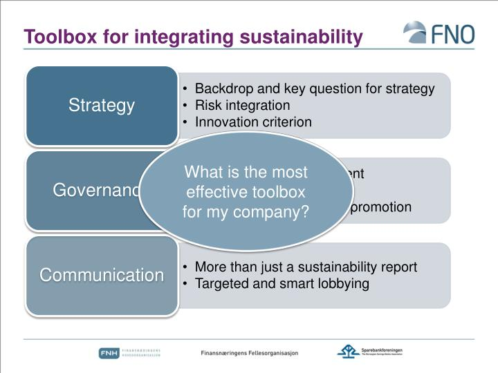 Toolbox for integrating sustainability