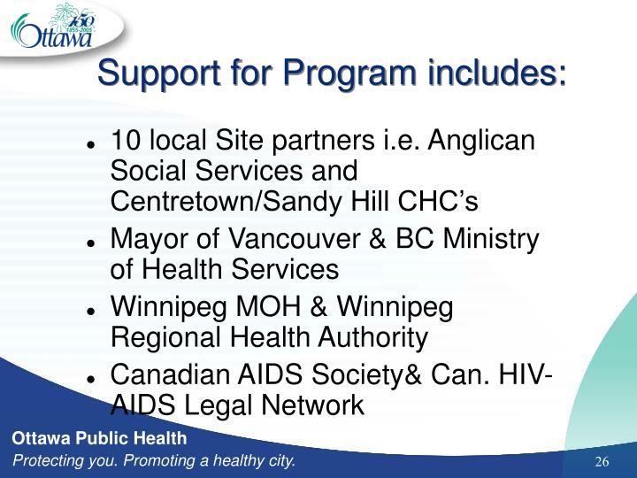 Support for Program includes: