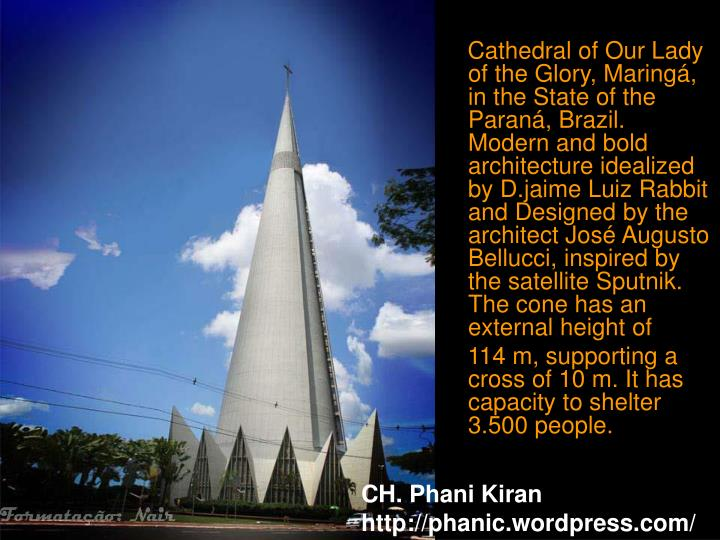 Cathedral of Our Lady of the Glory, Maringá, in the State of the Paraná, Brazil. Modern and bold a...