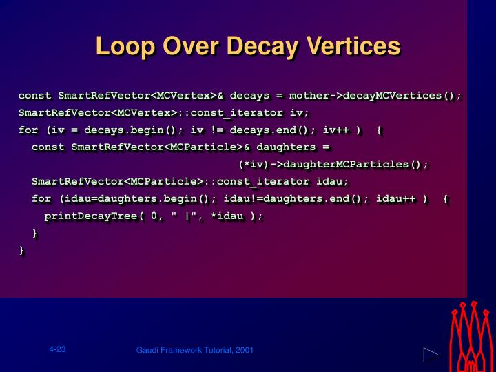 Loop Over Decay Vertices