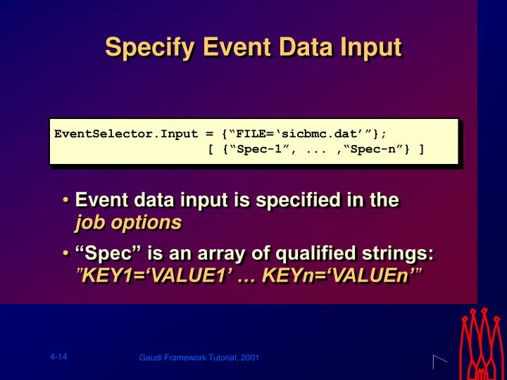 Specify Event Data Input