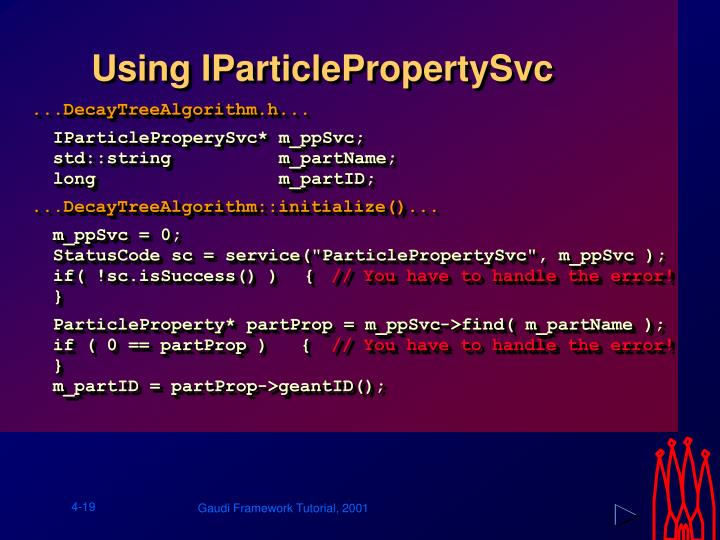 Using IParticlePropertySvc