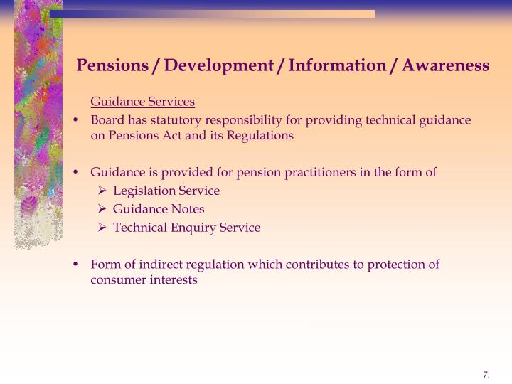 Pensions / Development / Information / Awareness