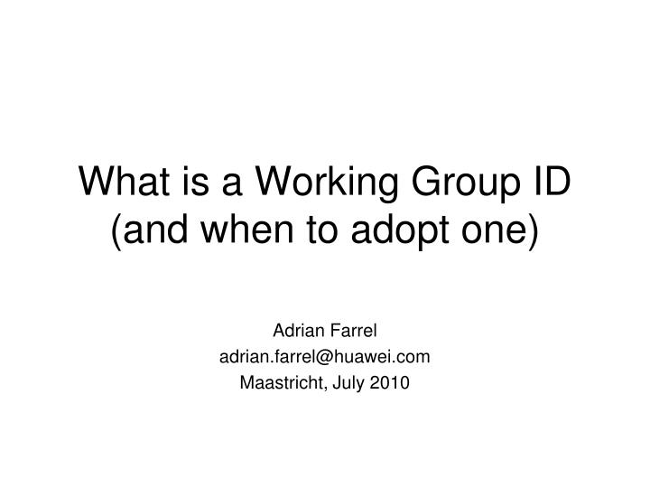 what is a working group id and when to adopt one
