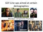 go line ups aimed at certain demographics